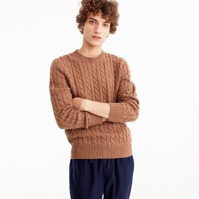 4cef8e83e Lambswool crewneck sweater in cable-knit
