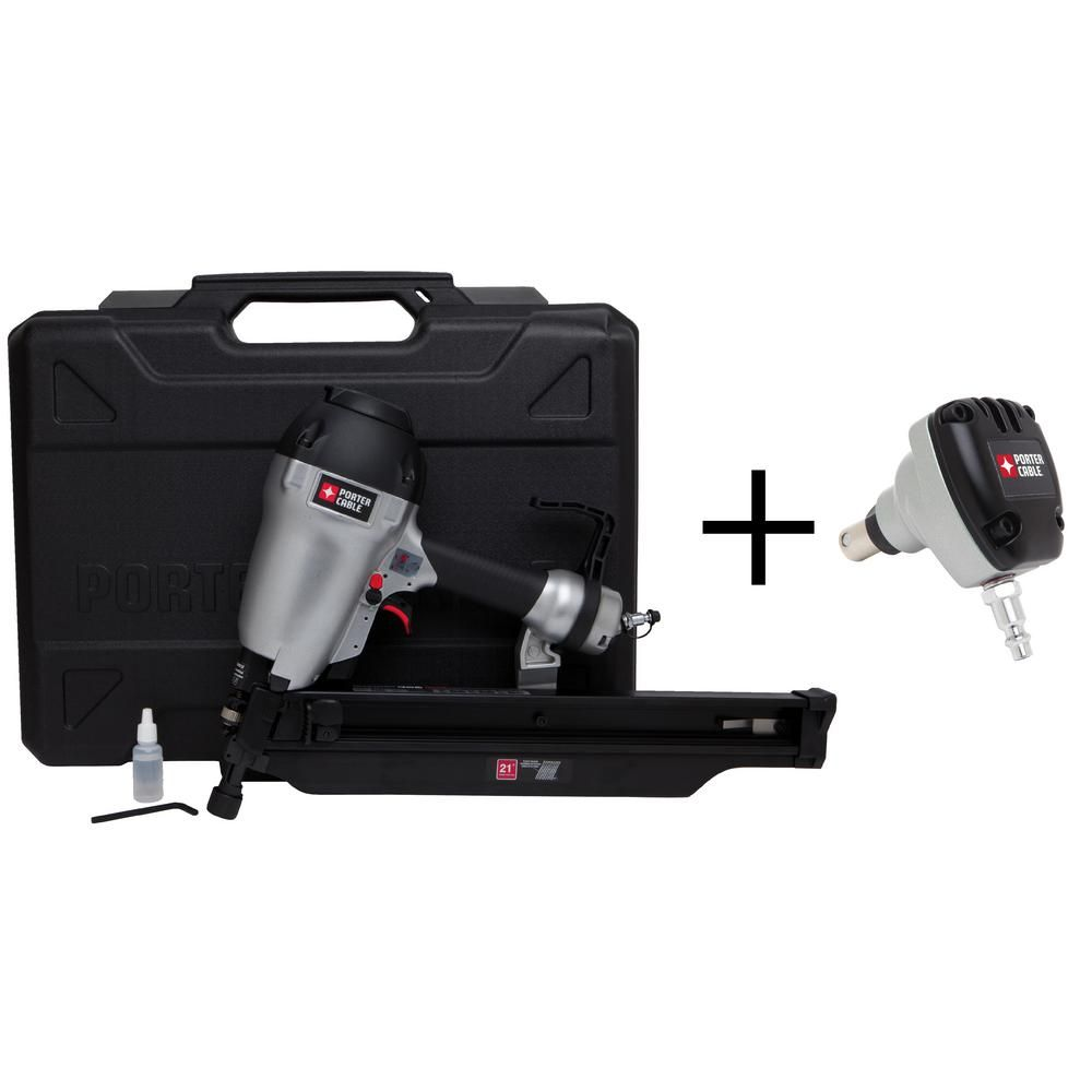 Pneumatic 21-Degree 3-1/2 in. Full Round Framing Nailer with 0 ...