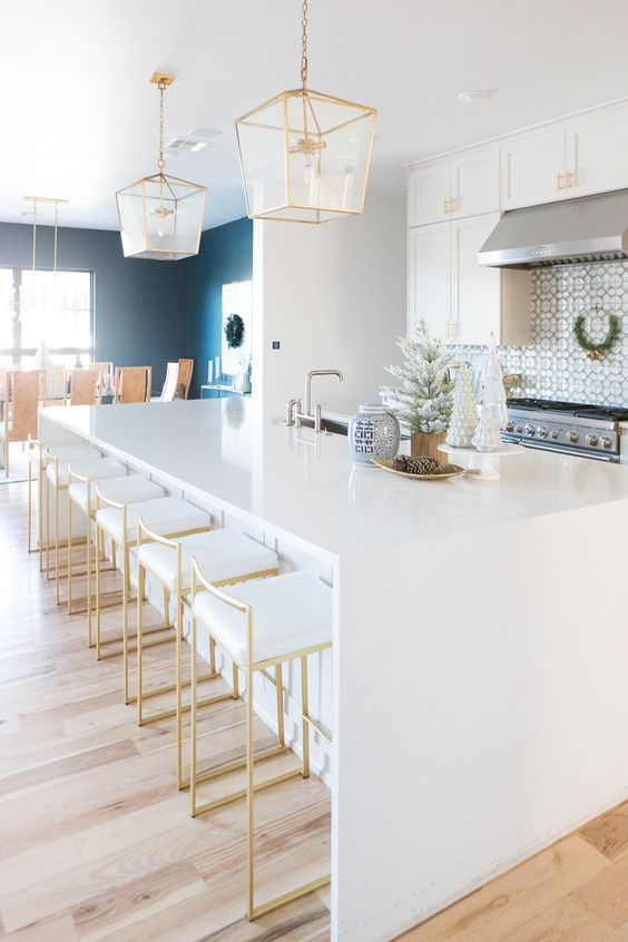 CC and Mike's Modern Eclectic Christmas Home Tour, gold bar stools, glam bar stools, white kitchen ideas, white kitchen decor, Ann sacks tile, Christmas decor ideas, patterned tile, patterned tile kitchen, gold light fixtures, gold pendants kitchen