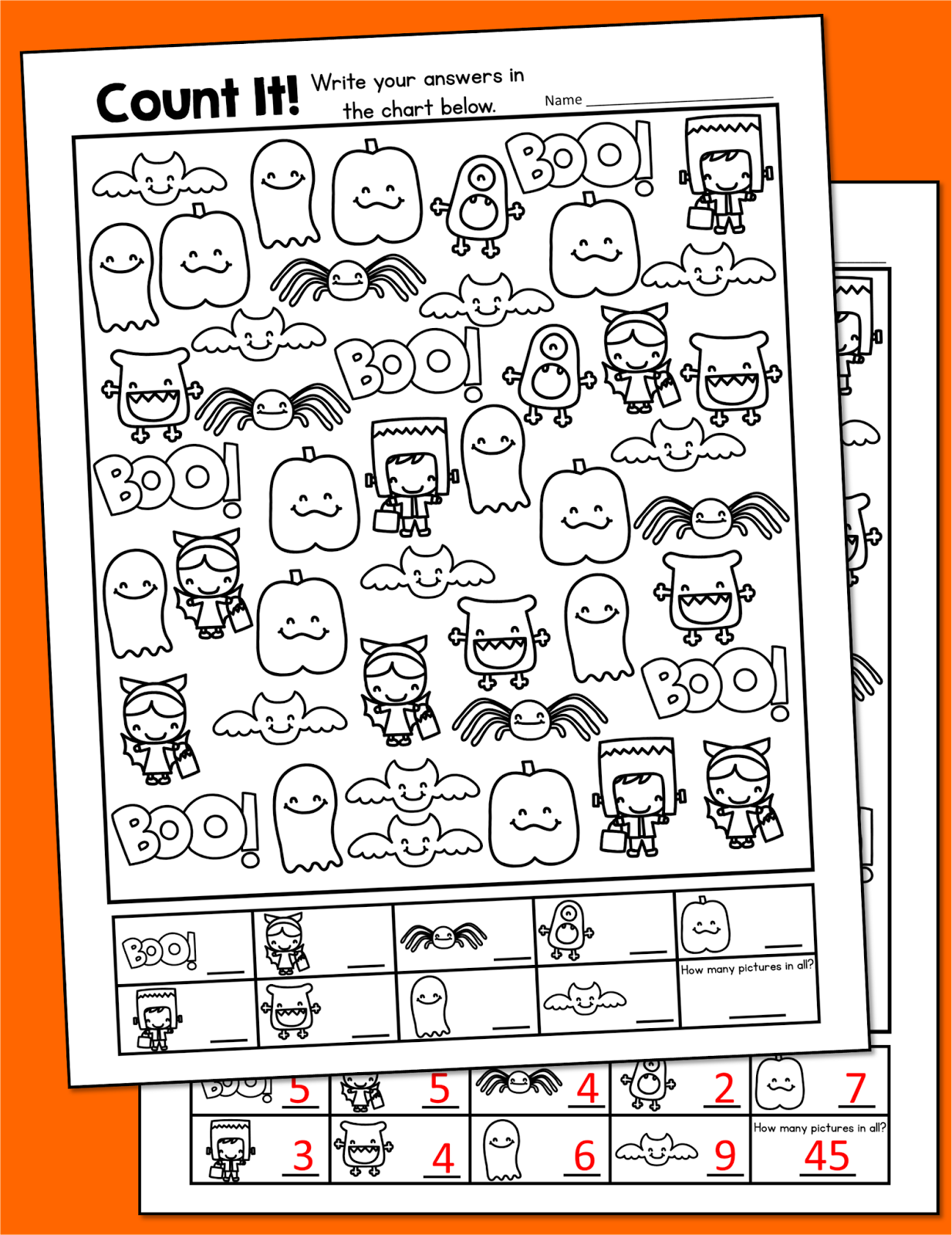 Free Kindergarten Math Worksheet For Halloween