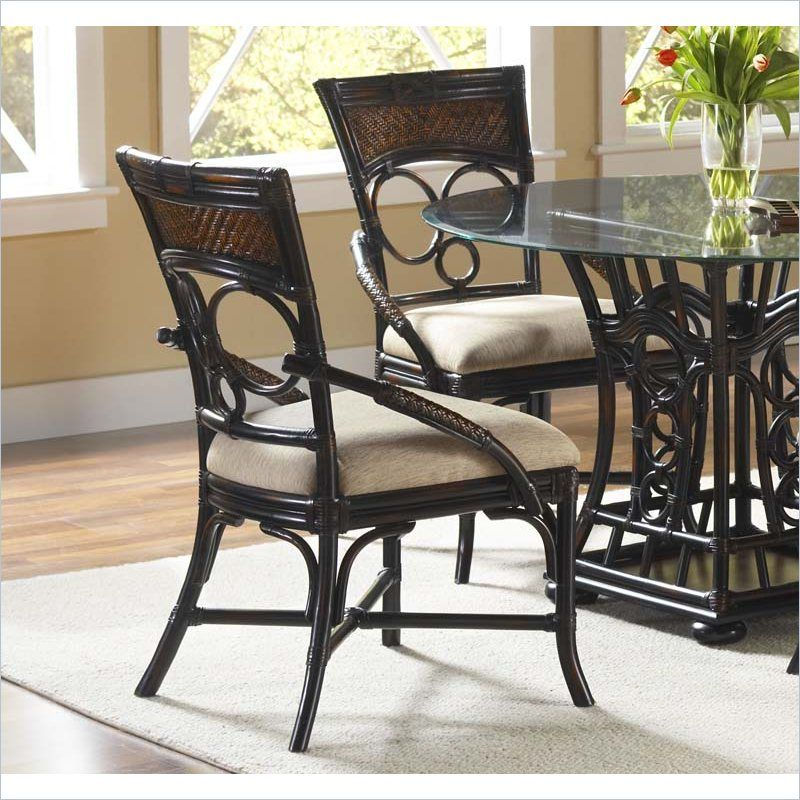 Largo Furniture Turks Isle Side Chair In Black And Brown Cane   D9772 41