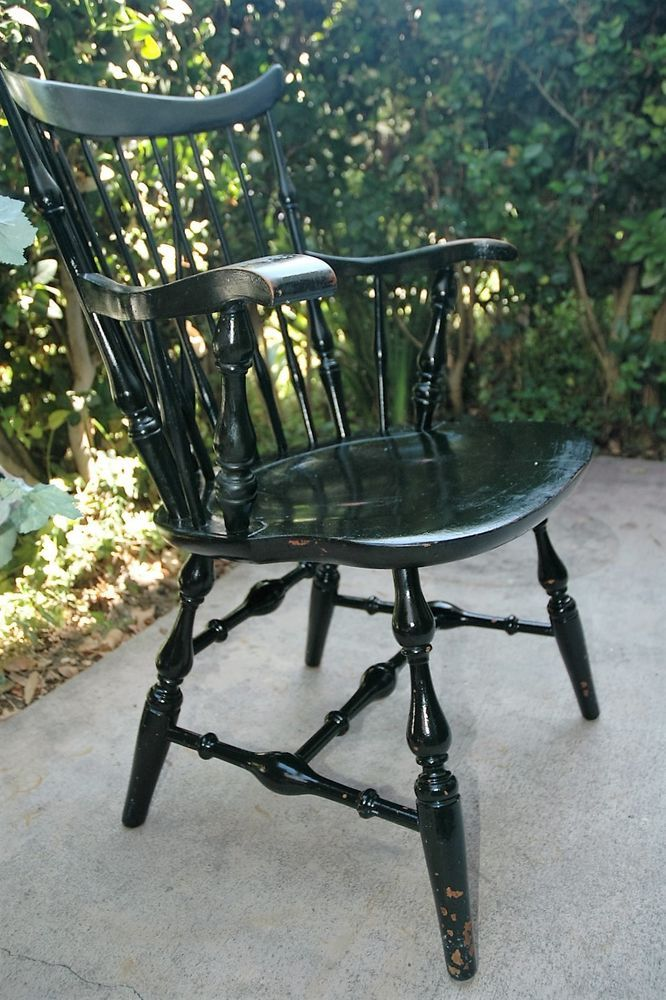Antique Nichols U0026 Stone Black Windsor Wing Back Dining Arm CHAIR Gardner  Mass #WINDSOR #