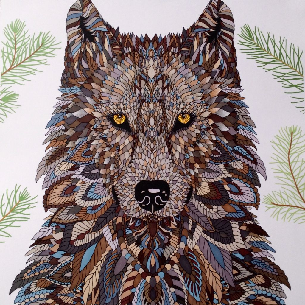 Another Version Of The Wolf The Menagerie Animal Portraits To Color Colored By C Ishi Animal Coloring Books Coloring Book Art Millie Marotta Animal Kingdom