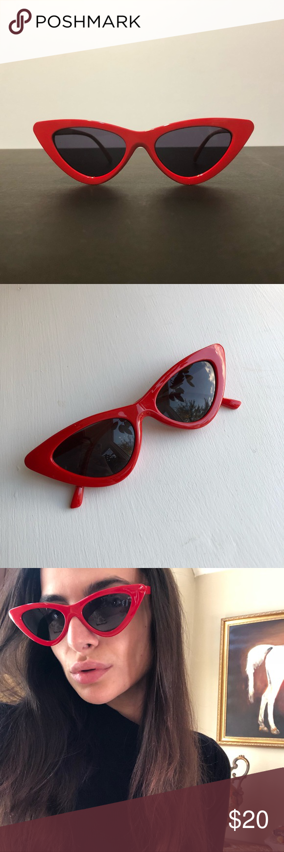 b73b1c5a57 Retro Triangle Cat Eye Sunglasses retro triangle vintage sunglasses • cat  eye red frame • black