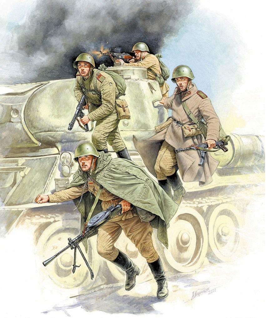 Soviet tank assault dismounts from the T-34/85 tank