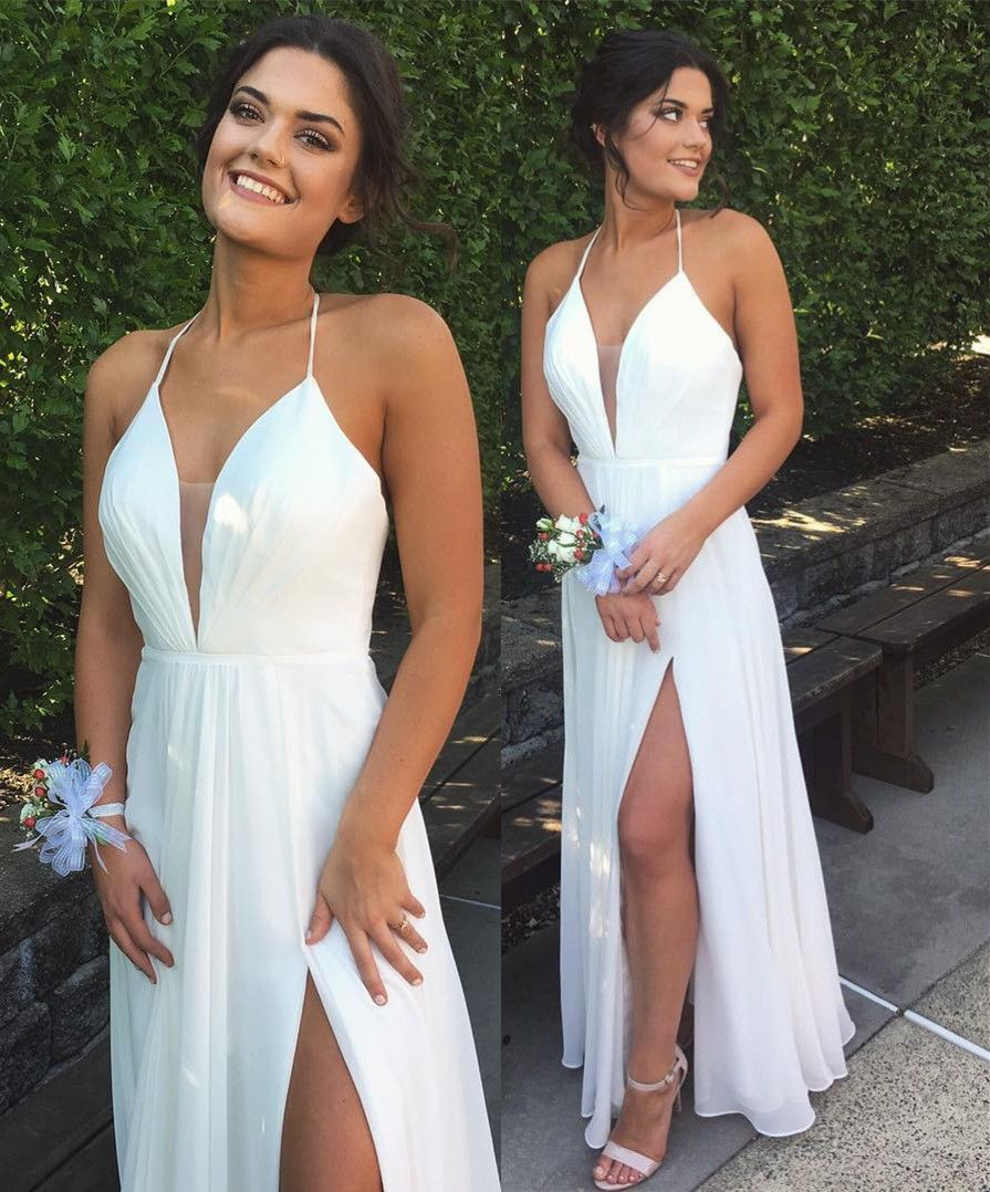 c90f2aedad Simple A-Line Halter Deep V-Neck Backless White Chiffon Prom Evening ...