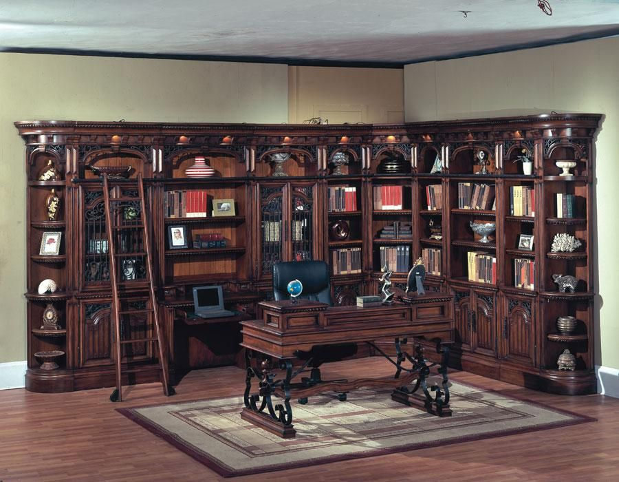 Barcelona Library Corner Wall Unit With Writing Desk This