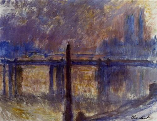 Charing Cross Bridge, Cleopatra's Needle - Claude Monet