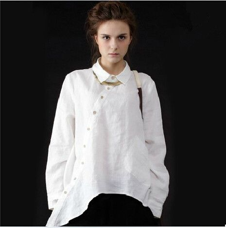 2017 plus size women vintage clothing pockets casual for White linen ladies shirt