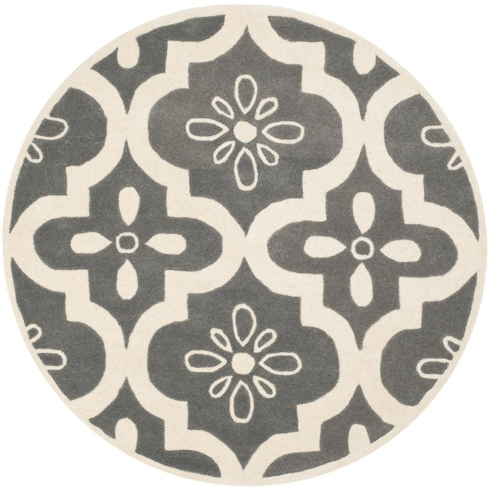 Chatham Dark Gray Ivory 5 Ft X 5 Ft Round Area Rug With Images