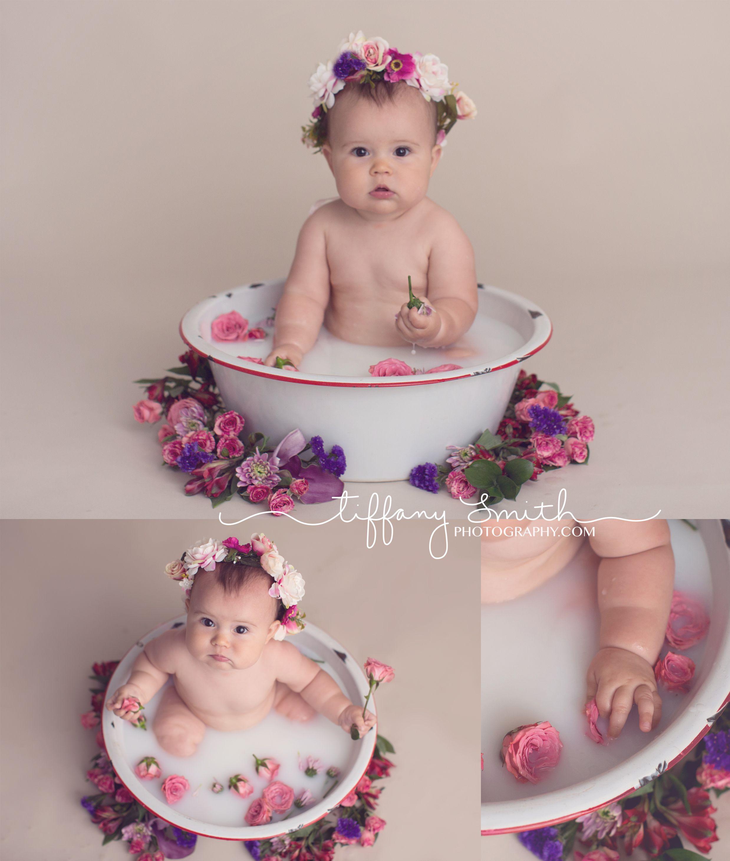 baby milk bath session | milk bath photos with flowers ...