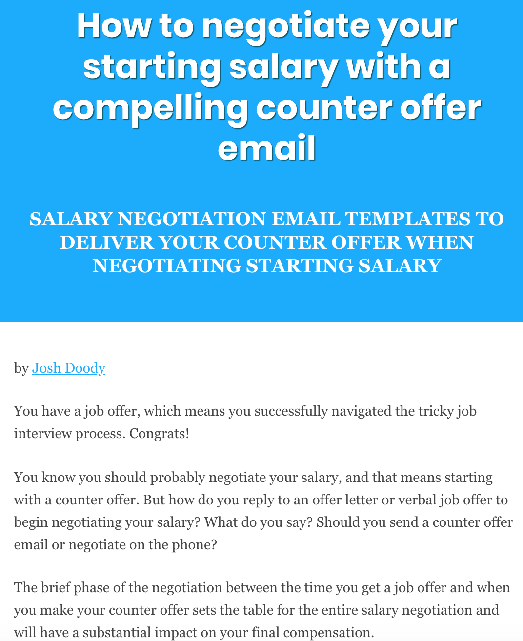 How To Negotiate Your Starting Salary With A Compelling Counter Offer Email Negotiating Salary Salary Negotiation Letter Job Letter