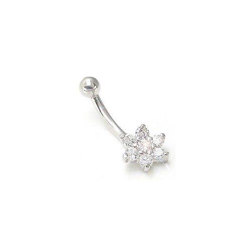 18g Genuine Diamond Flower Solid 14k White Gold Belly Button Ring