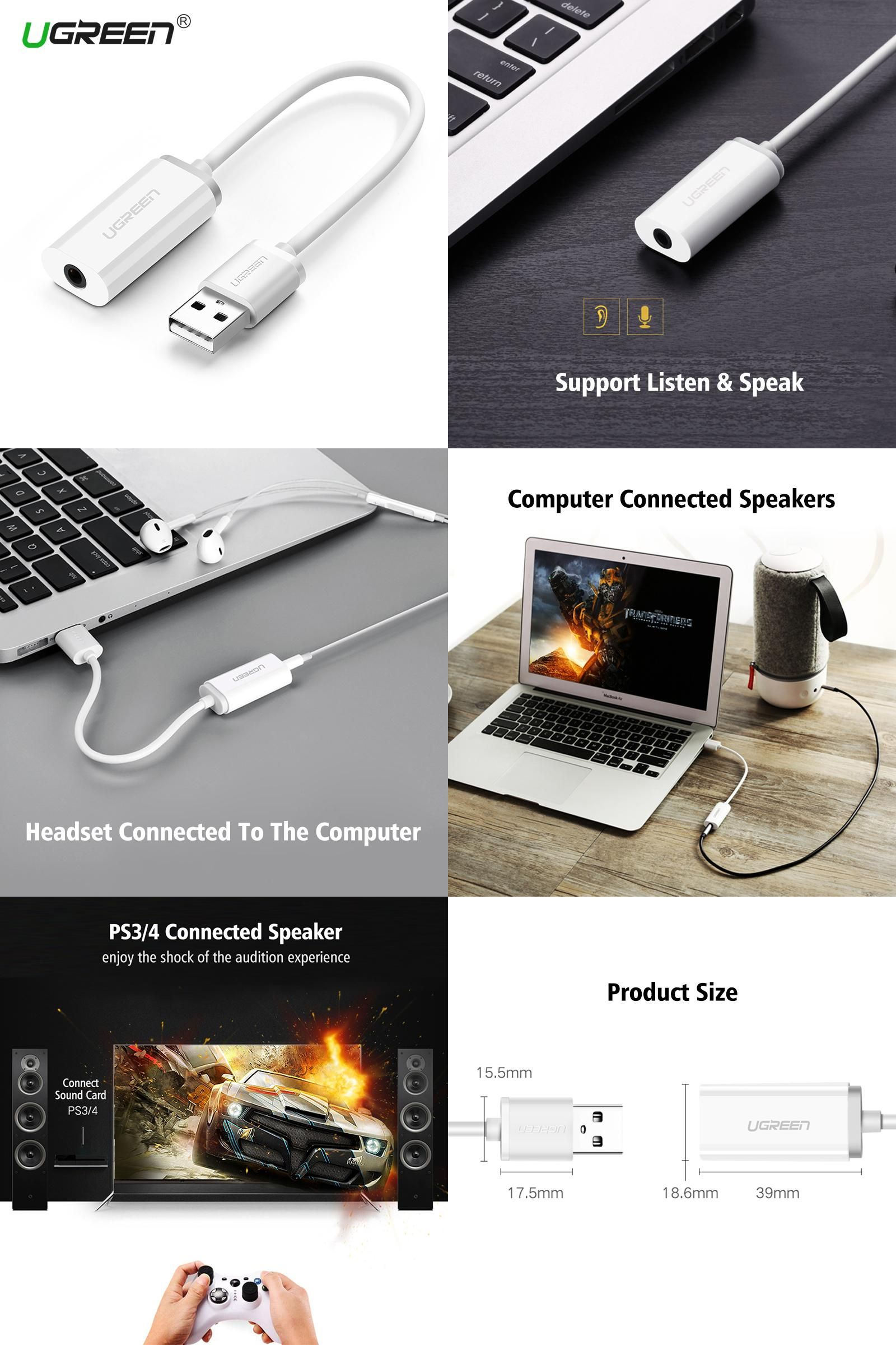 Visit To Buy Ugreen External Usb Audio Sound Card Mic Adapter Speaker 3 5mm Jack Stereo Audio Cable Headset For Ps4 Laptop Ps4 Headset Sound Card Audio Sound
