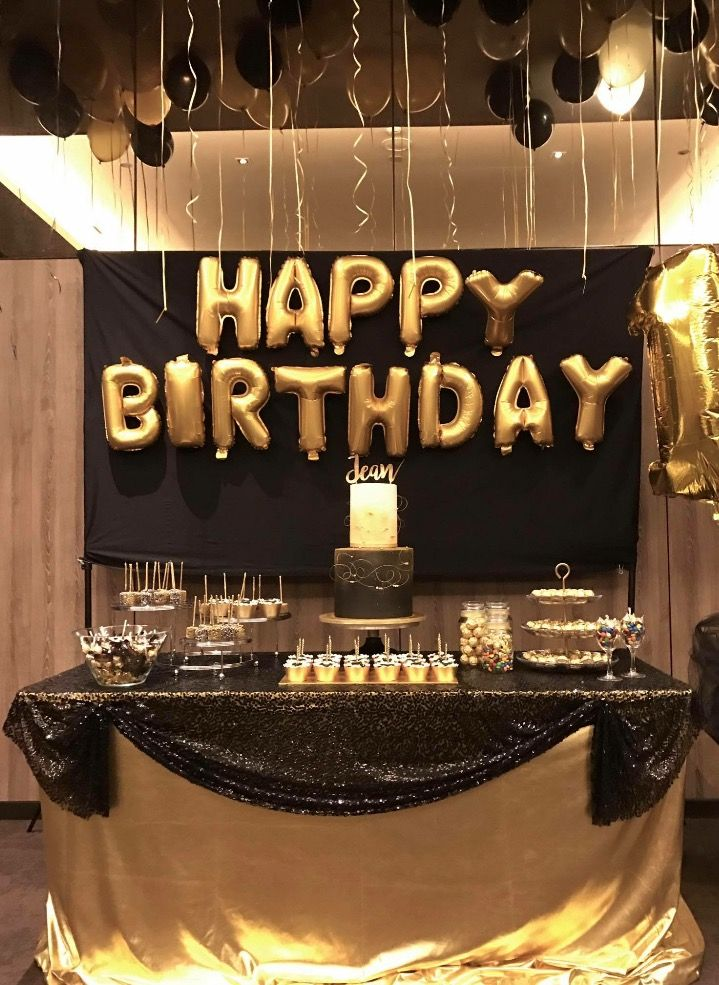 Dessert table for black and gold birthday party theme for Decor 17