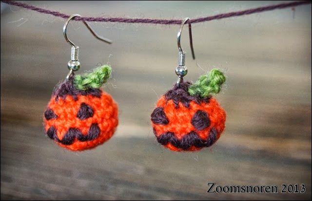 Halloween pumpkin earrings Zoomsnoren: DIY: Hæklede Halloween-græskar-øreringe