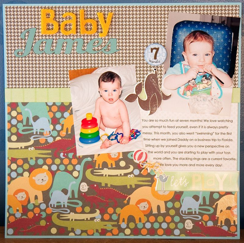 Baby Boy Scrapbooking Layout - Scrapbook page using me & my BIG ideas paper pad, stickers & embellishments.