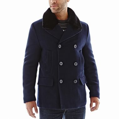 Claiborne Wool Peacoat with Faux Fur Collar - jcpenney