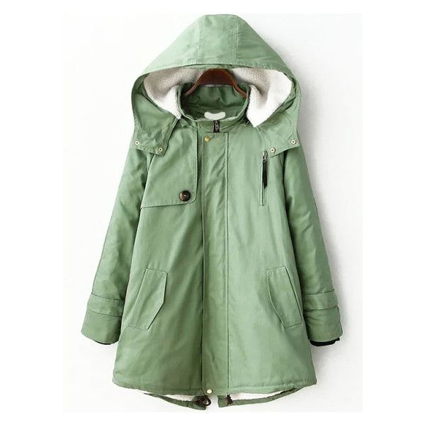 Hooded Zipper Slit Back Parka (37 CHF) ❤ liked on Polyvore featuring outerwear, coats, green hooded coat, hooded parka, green parka coat, parka coat and zip coat