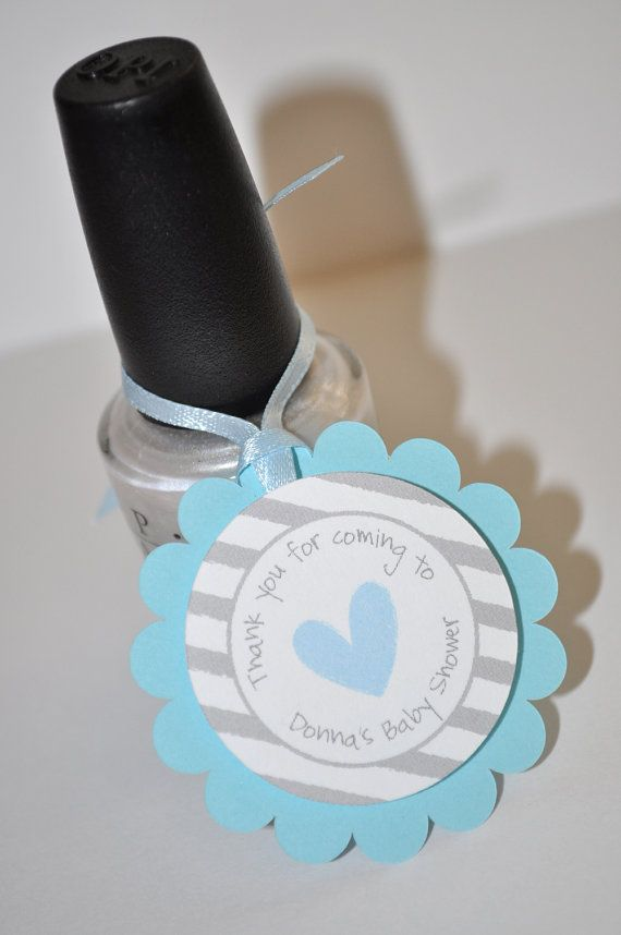 Baby Shower Favor Cards Part - 49: 12 Boys Baby Shower Favor Tags - Blue And Gray - Thank You Tags - Baby