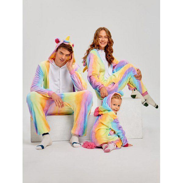 3dd2177aa5 Rainbow Unicorn Animal Family Onesie Pajamas - Cream Kid 140 Mobile