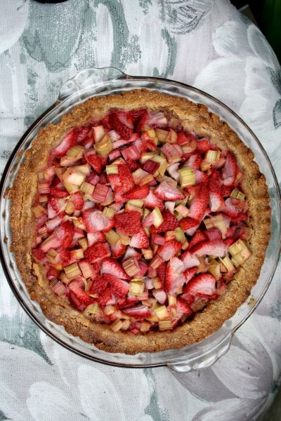Open Faced Strawberry Rhubarb Pie | http://friskylemon.com/2012/06/28/open-faced-strawberry-rhubarb-pie/