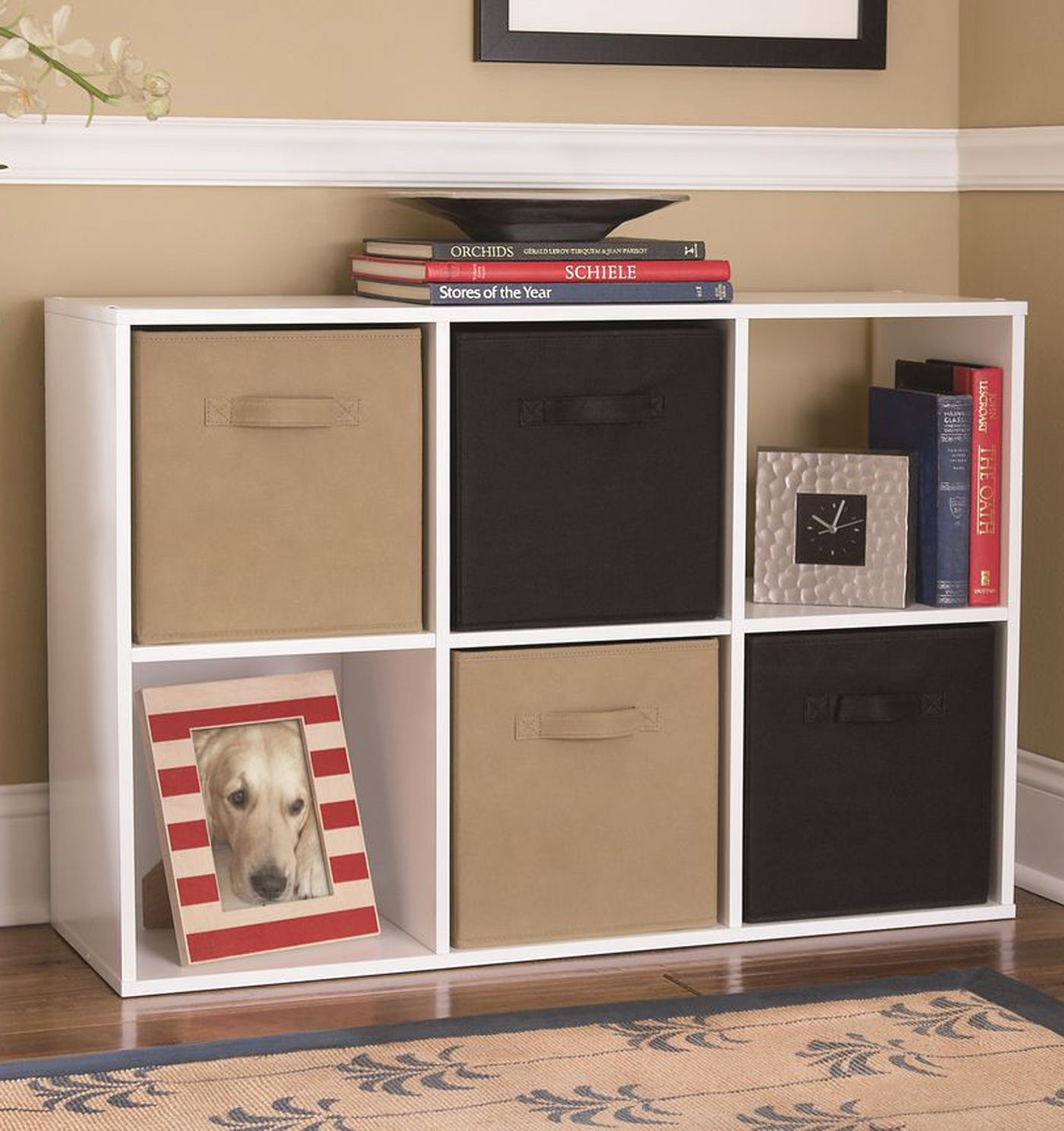 6 Cube Storage White Bookcase Basket Toy Book Box Organizer For