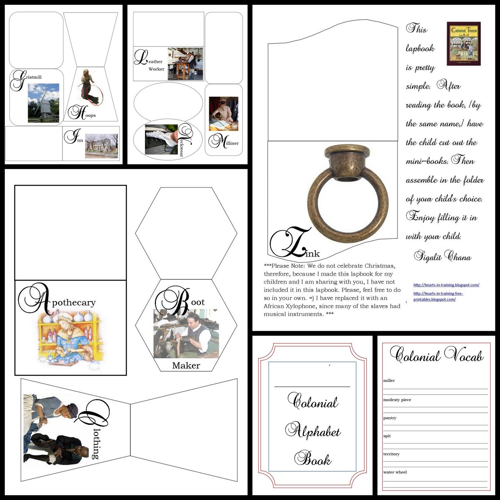 Free Colonial Times From A To Z Lapbook
