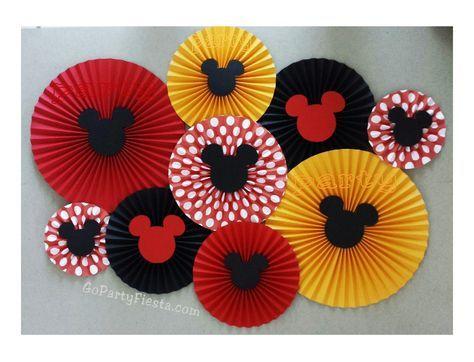 Mickey Mouse Paper Fan Rosette Wall Decor Backdrop