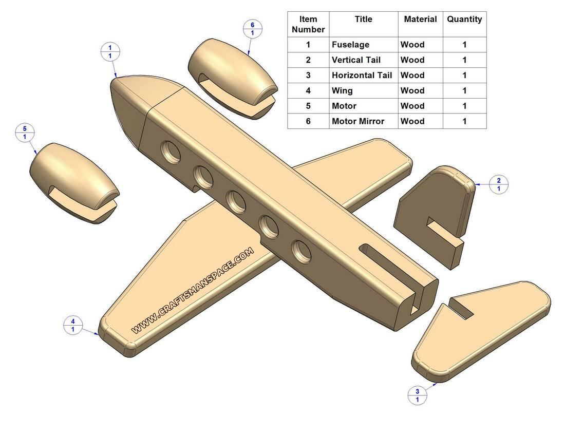 Easy Wood Toy Patterns Passenger Plane Kids Toy Plan Parts List