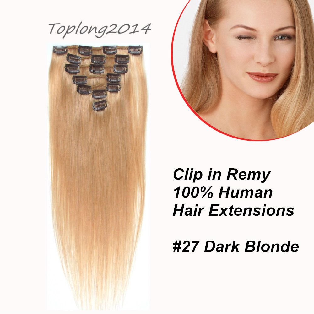 Autumn Seamless Clip In 100 Real Human Hair Extension Dark Blonde
