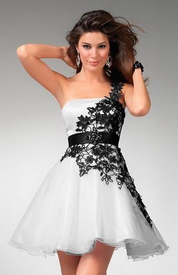 Vestidos negro con blanco cortos