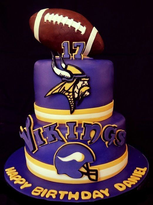 Superb Minnesota Vikings Birthday Cake Football Party Viking Birthday Funny Birthday Cards Online Elaedamsfinfo
