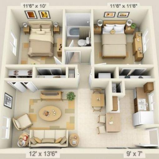 2 Bhk Flat Low Budget 2 Bedroom House Floor Plan Design 3d