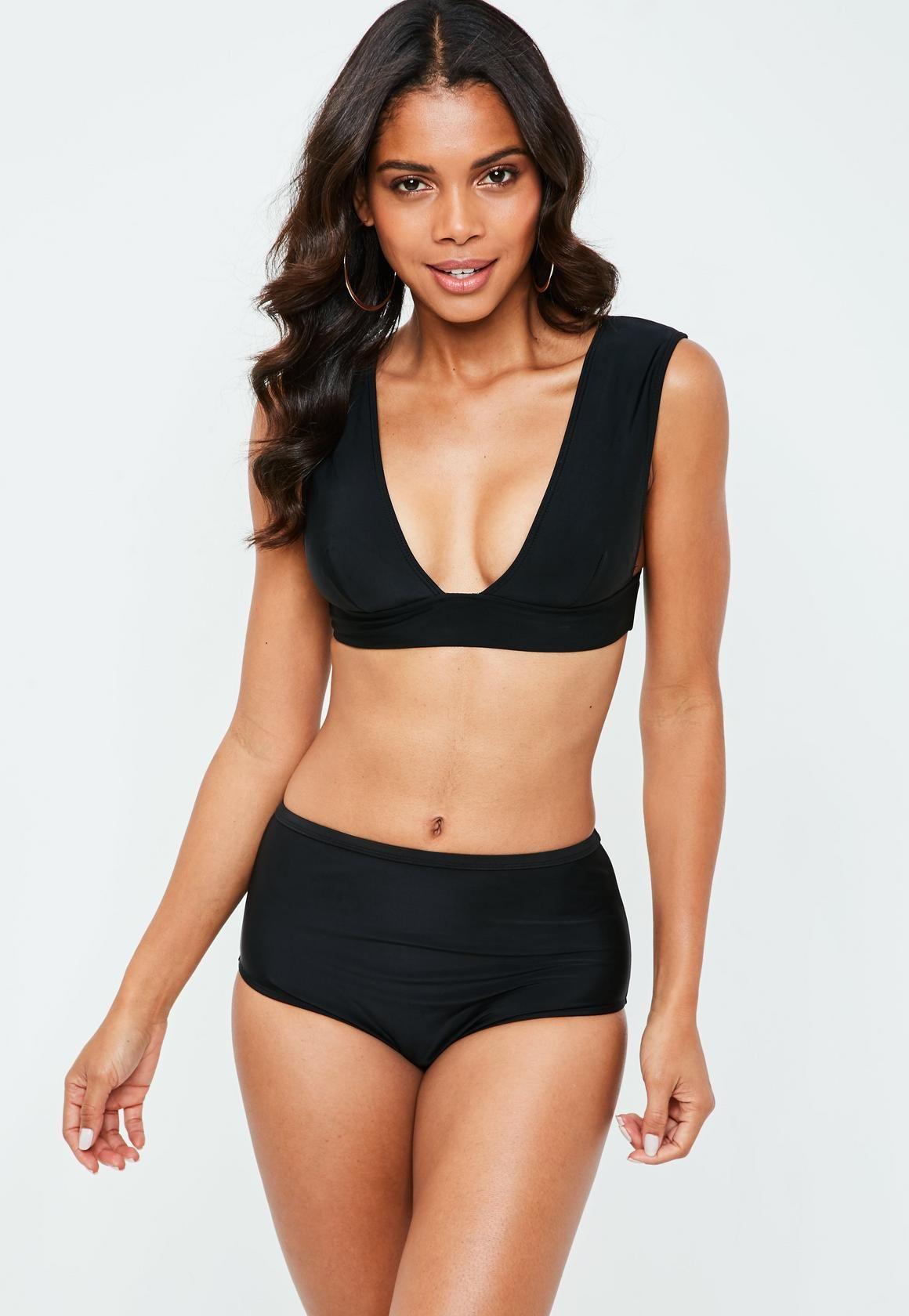 d8a1bdfec8a Missguided Black Mix And Match Super Plunge Bikini Top | swim