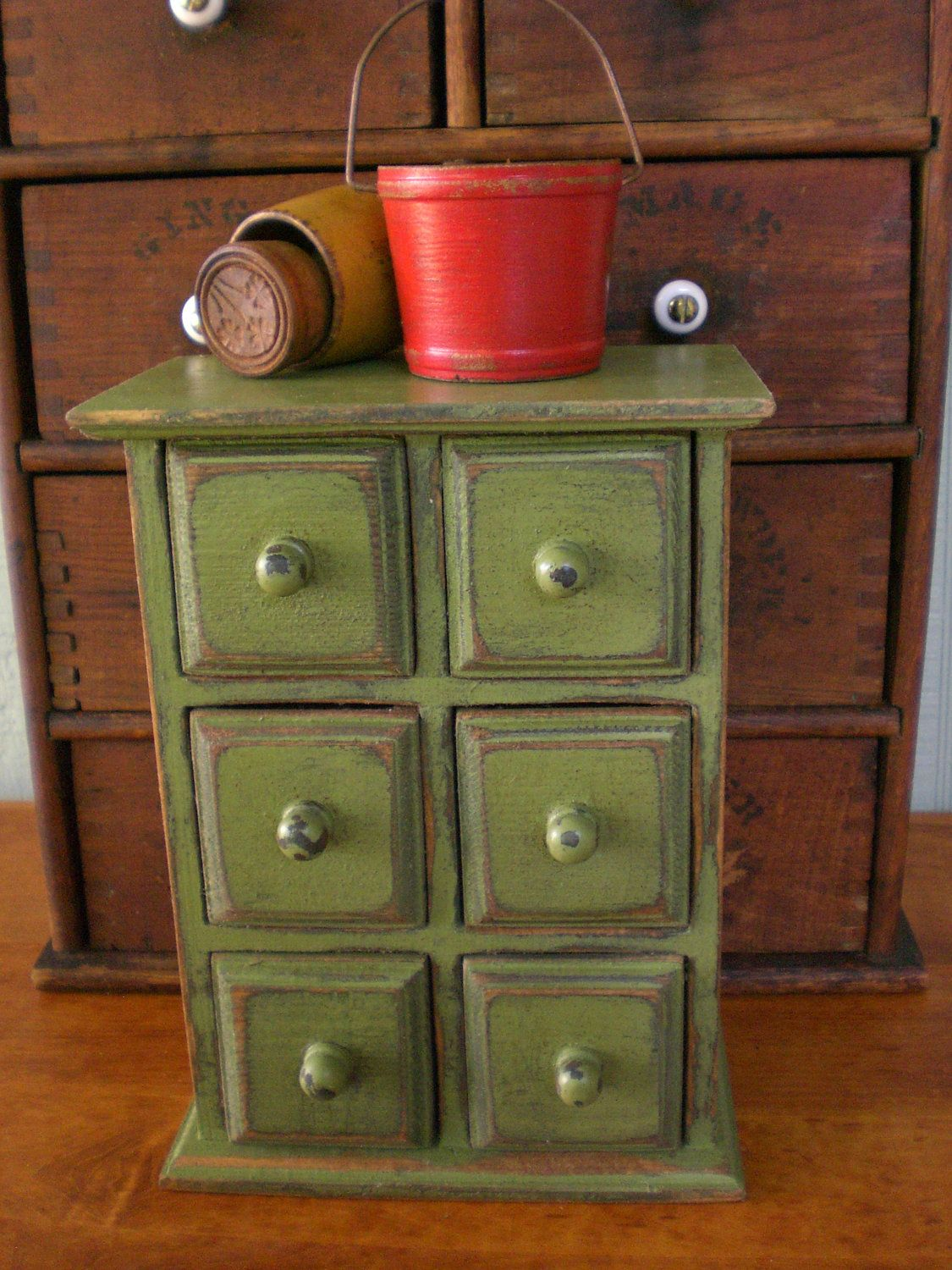 Wooden Spice Box Apothecary Primitive Tea Chest Of Drawers
