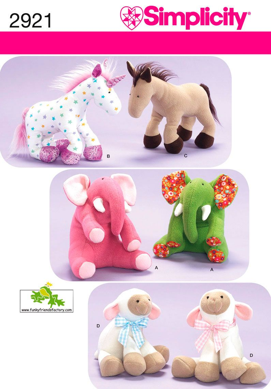 2921 Crafts Stuffed Animals: Unicorn, Horse, Elephant, Lamb ...