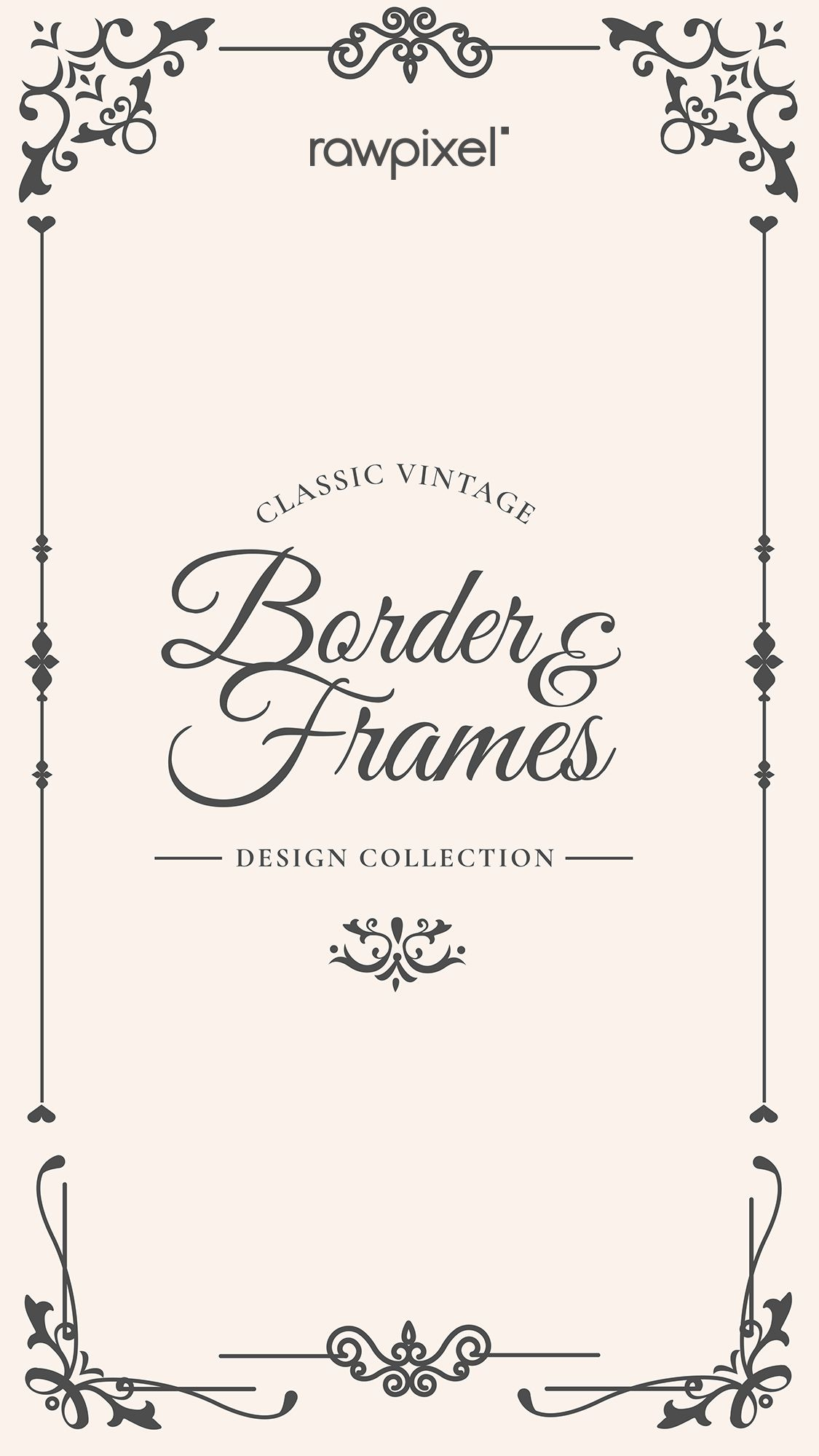 Download Premium Vector Of Vintage Border And Frames Vector 844352 In 2020 Vintage Borders Vintage Frames Vector Creative Banners