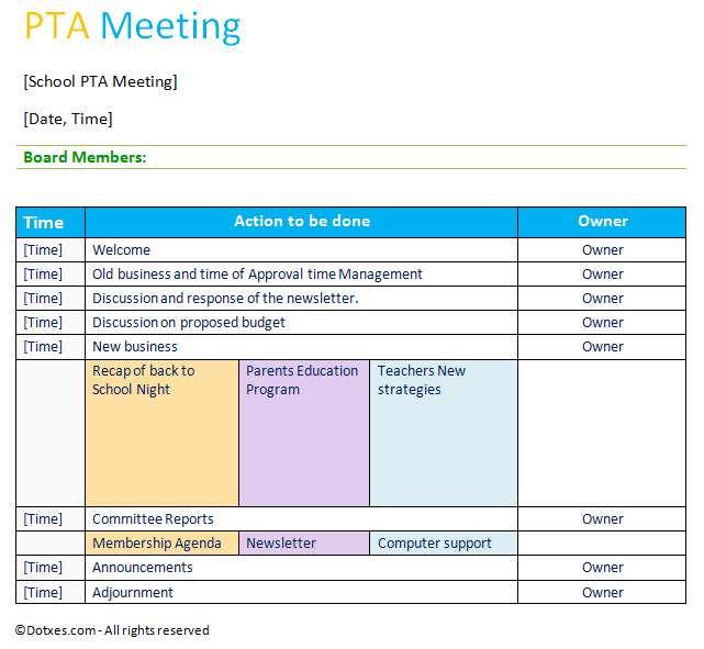 Professional PTA Meeting Agenda Template  Professional Meeting Agenda Template