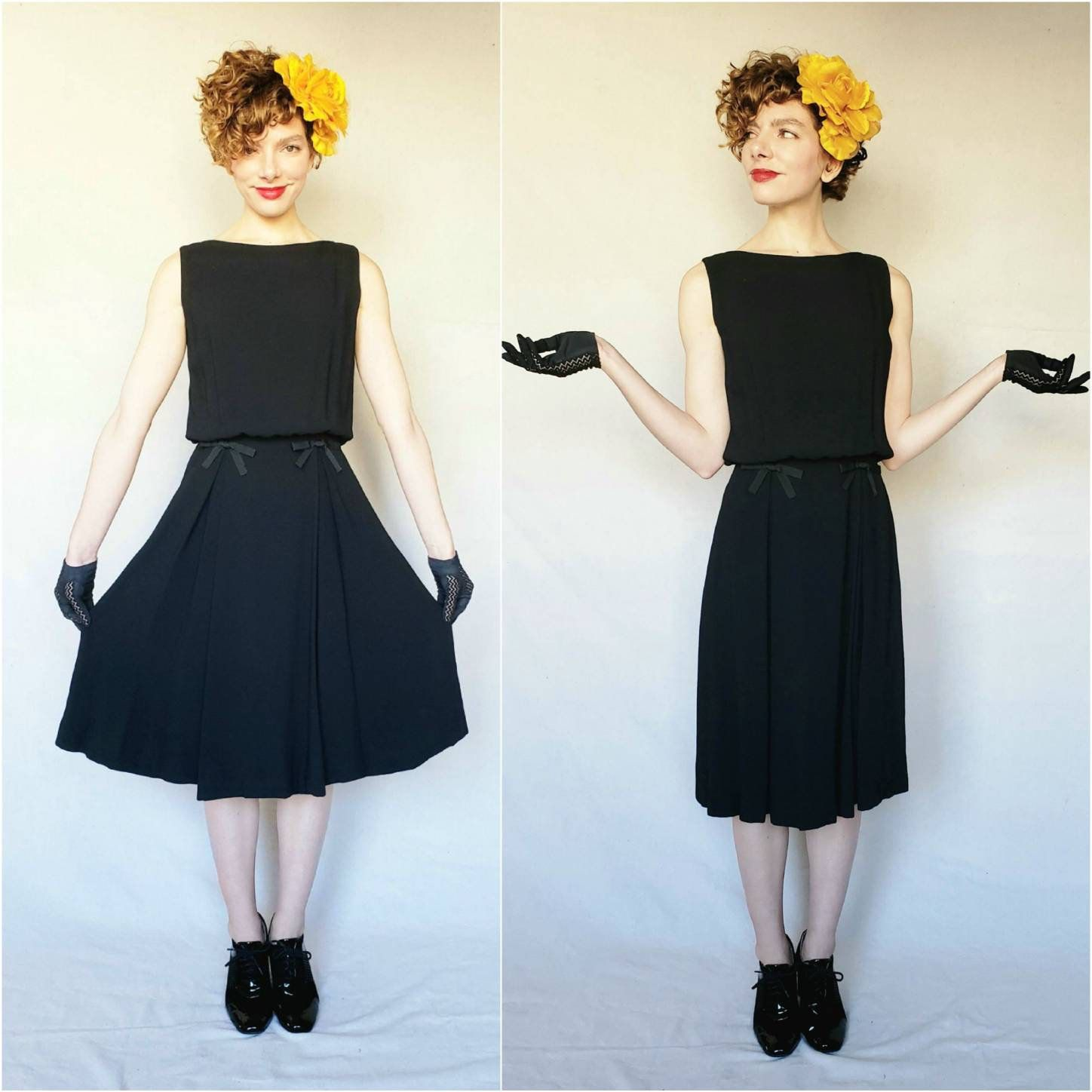1960s Black Cocktail Dress With Bows Kay Martin Chicago 60s Etsy Black A Line Skirt Black Cocktail Dress Party Dress [ 1448 x 1448 Pixel ]