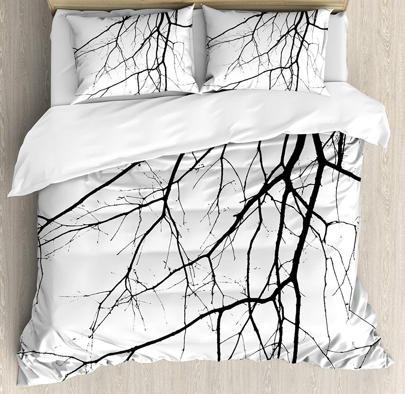 Ambesonne Black And White Duvet Cover Set King Size Macro Leafless Winter Tree Branches Idyllic Twigs Of Duvet Cover Sets White Duvet Covers Black Duvet Cover