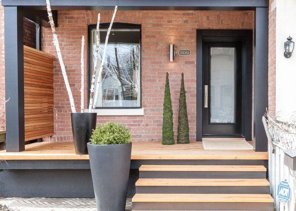 Front Yards Front Yard Porch A Change Of Space Modern Front Porches Modern Porch Screened In Porch Diy