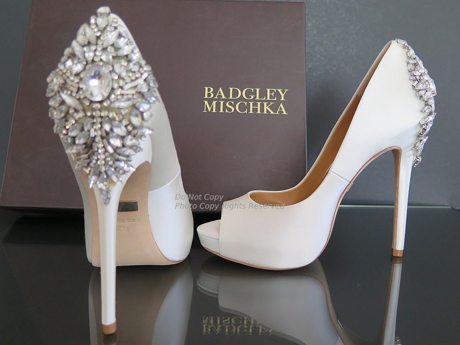 52d41e4ab760 BADGLEY MISCHKA Kiara Shoes White Satin Open Toe Pumps Crystal Back 5 1 2  Bridal