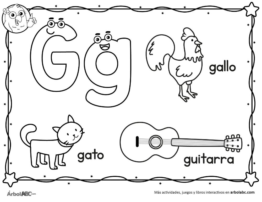 Letra G para colorear | Árbol ABC (con imágenes) | Letra g ...