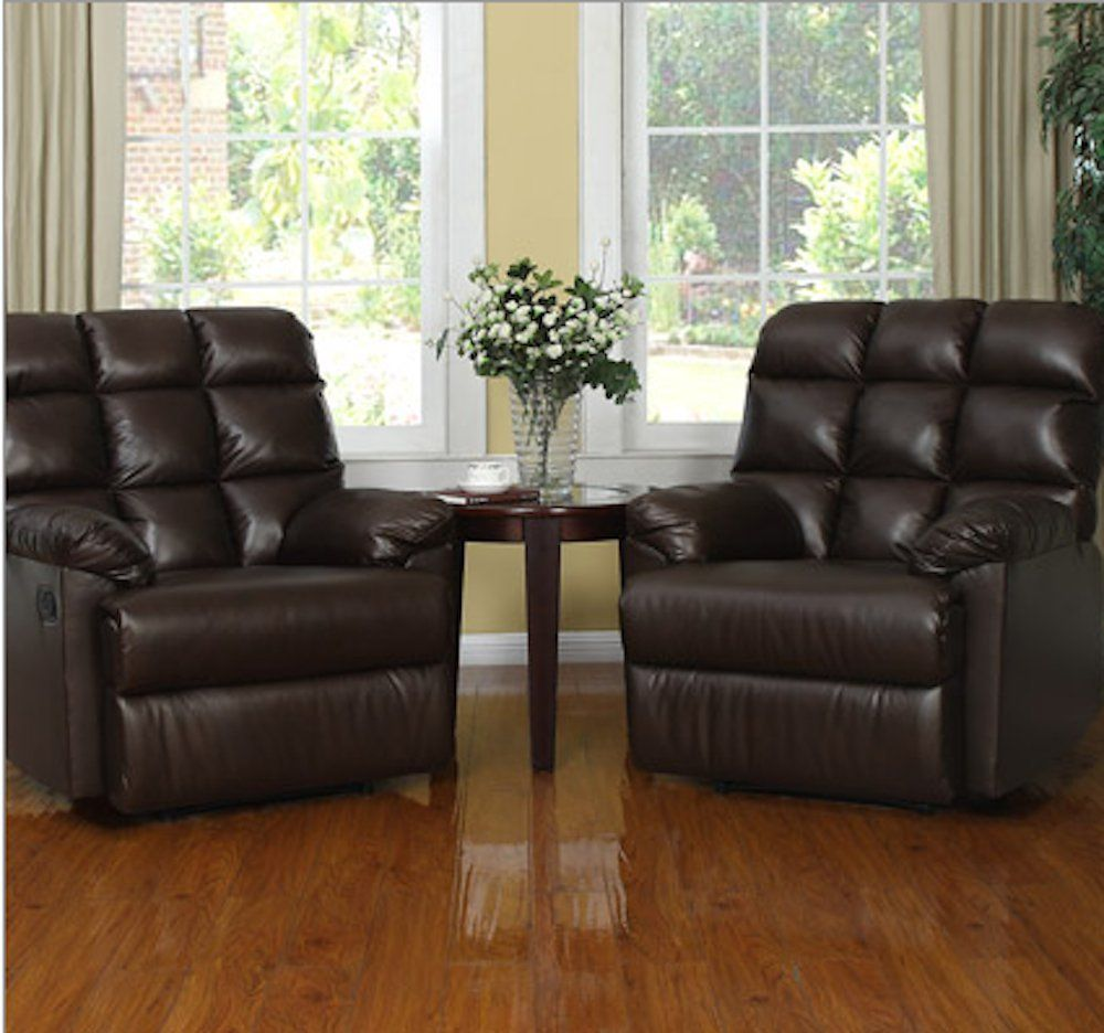 High Quality Leather Recliner Chairs Set Of 2 Large Comfort Overstuffed Wall Hugger With  Biscuit Ultra Comfort Back For Living Room In Black Or Brown On Sale   Best  ...