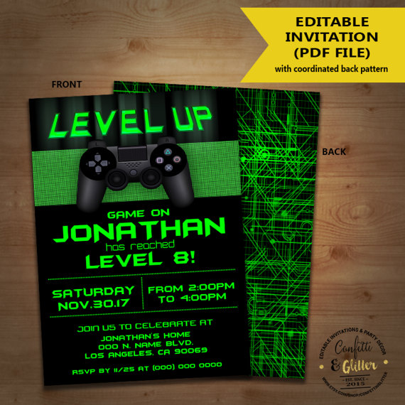 level up video game birthday party invitation game on