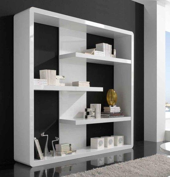 Librer a lacada blanco con 3 baldas medidas 200x39xh194 for Librerias salon modernas
