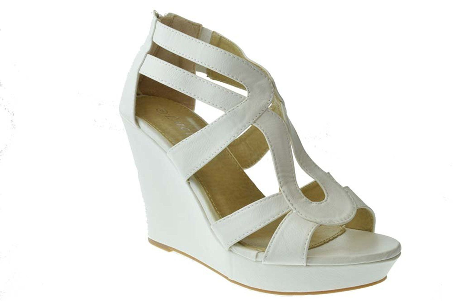 Top 8 Womens Strappy Open Toe Platform Wedge White -- Check this awesome product by going to the link at the image.