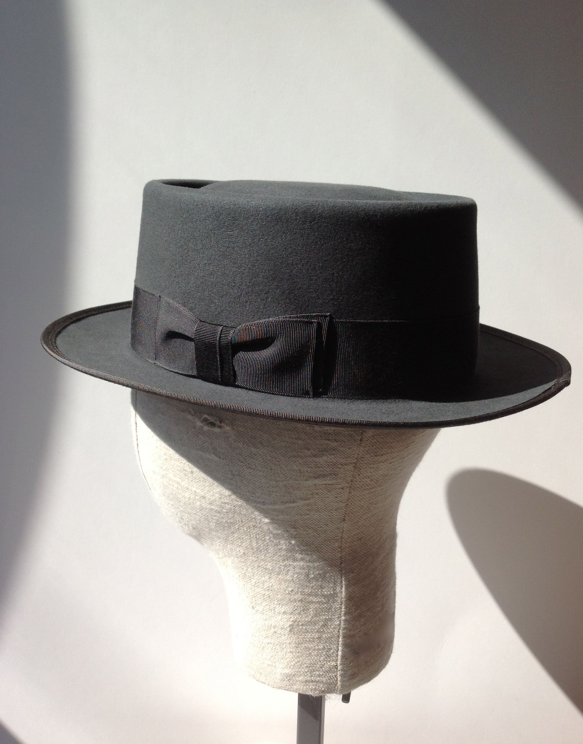 mens custom pork pie hat ~ 100% beaver fur felt in grey ~ by hatWRKS ... 9607b451081