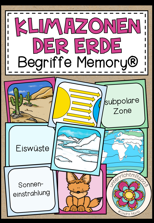 Die Klimazonen der Erde   Begriffe Memory® – Unterrichtsmaterial ...